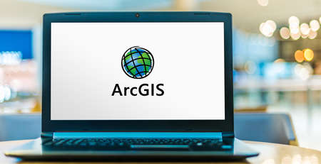 POZNAN, POL - NOV 12, 2020: Laptop computer displaying logo of ArcGIS, a geographic information system (GIS) for working with maps