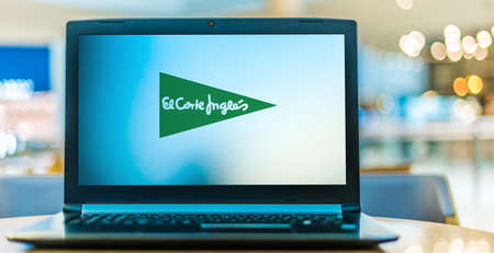 POZNAN, POL - JAN 6, 2021: Laptop computer displaying logo of El Corte Ingles, the biggest department store group in Europe