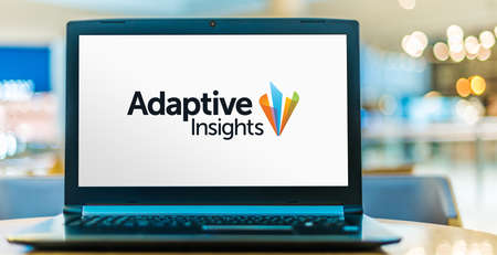 POZNAN, POL - NOV 12, 2020: Laptop computer displaying logo of Adaptive Insights, a software as a service company headquartered in Palo Alto, California founded in 2003