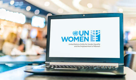 POZNAN, POL - NOV 12, 2020: Laptop computer displaying logo of UN Women, a United Nations entity working for the empowerment of women