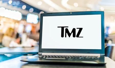 POZNAN, POL - JAN 6, 2021: Laptop newspaper computer displaying logo of TMZ, a tabloid journalism online