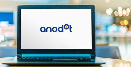 POZNAN, POL - NOV 12, 2020: Laptop computer displaying logo of Anodot, a data analytics company that uses machine learning and artificial intelligence for business monitoring and anomaly detection