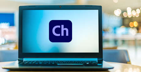 POZNAN, POL - AUG 8, 2020: Laptop computer displaying logo of Adobe Character Animator, a desktop application software product that is automatically installed with Adobe After Effects
