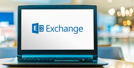 POZNAN, POL - JUL 25, 2020: Laptop computer displaying logo of Microsoft Exchange, a mail server and calendaring server developed by Microsoft