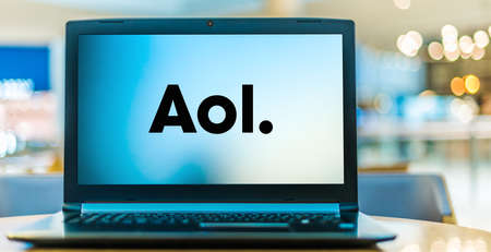POZNAN, POL - JAN 6, 2021: Laptop computer displaying logo of AOL, an American web portal and online service provider based in New York City