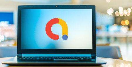 POZNAN, POL - JAN 6, 2021: Laptop computer displaying logo of Google AdMob, one of the world's largest mobile advertising platforms