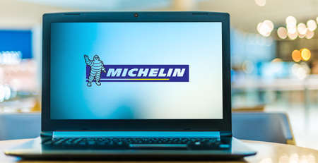 POZNAN, POL - AUG 8, 2020: Laptop computer displaying logo of Michelin, a French multinational tire manufacturer based in Clermont-Ferrand.