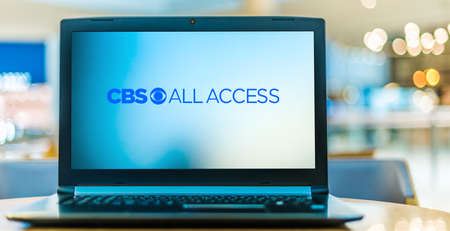 POZNAN, POL - JAN 6, 2021: Laptop computer displaying logo of CBS All Access, an American streaming video service owned and operated by CBS Interactive, a subsidiary of ViacomCBS
