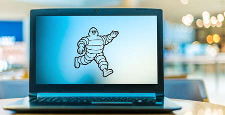 POZNAN, POL - AUG 8, 2020: Laptop computer displaying of Michelin, a French multinational tire manufacturer based in Clermont-Ferrand.