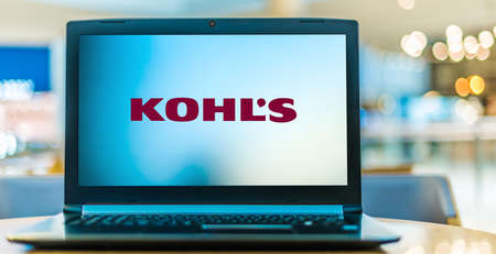 POZNAN, POL - JAN 6, 2021: Laptop computer displaying logo of Kohl's, an American department store retail chain, operated by Kohl's Corporation