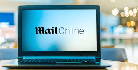 POZNAN, POL - JAN 6, 2021: Laptop computer displaying logo of MailOnline, the website of the Daily Mail, a newspaper in the United Kingdom