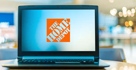 POZNAN, POL - JAN 6, 2021: Laptop computer displaying logo of Home Depot, the largest home improvement retailer in the United States