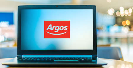 POZNAN, POL - JAN 6, 2021: Laptop computer displaying logo of Argos, a catalog retailer operating in the United Kingdom and Ireland