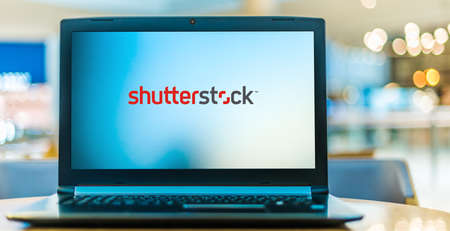 POZNAN, POL - JAN 6, 2021: Laptop computer displaying logo of Shutterstock, an American provider of stock photography, stock footage, stock music, and editing tools