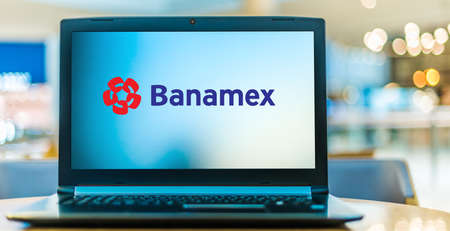 POZNAN, POL - NOV 12, 2020: Laptop computer displaying logo of Banamex, the second-largest bank in Mexico, a Citigroup subsidiary.