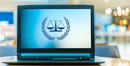 POZNAN, POL - JAN 6, 2021: Laptop computer displaying logo of The International Criminal Court, an intergovernmental organization and international tribunal that sits in The Hague, Netherlands