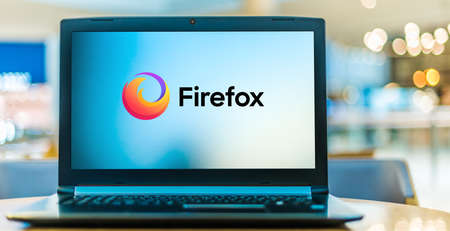 POZNAN, POL - JAN 6, 2021: Laptop computer displaying logo of Firefox, a free and open-source web browser. Editorial