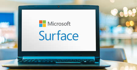 POZNAN, POL - SEP 23, 2020: Laptop computer displaying logo of Microsoft Surface, a series of touchscreen-based personal computers and interactive whiteboards designed and developed by Microsoft