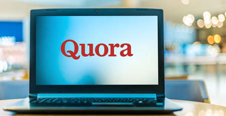 POZNAN, POL - JAN 6, 2021: Laptop computer displaying logo of Quora, an American question-and-answer website owned by Quora Inc. and based in Mountain View, California, US