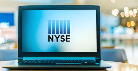 POZNAN, POL - NOV 12, 2020: Laptop computer displaying logo of The New York Stock Exchange, an American stock exchange located in the Financial District of Lower Manhattan in New York City Editorial