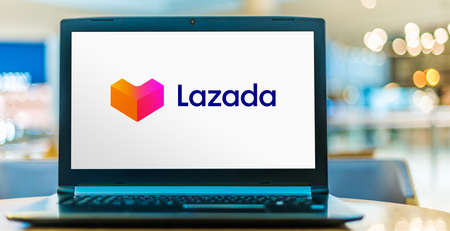 POZNAN, POL - SEP 23, 2020: Laptop computer displaying logo of Lazada, an international e-commerce company founded in 2012 and owned by Alibaba Group.