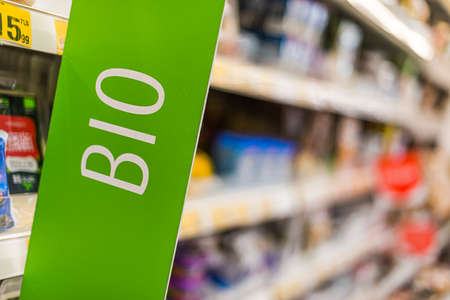 Bio food products put up for sale in a supermarket