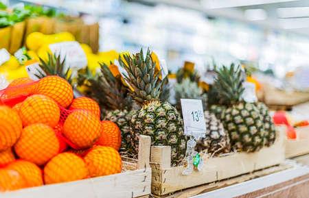 Organic food products in a supermarket Standard-Bild