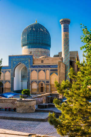Gur-e-Amir or Guri Amir (Tomb of the King), a mausoleum of the Asian conqueror Timur in Samarkand, Uzbekistan. 版權商用圖片