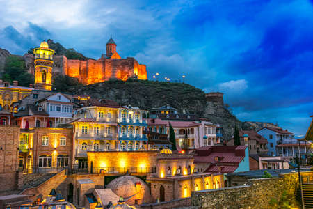 Old Town of Tbilisi, Georgia after sunset