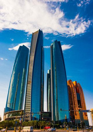ABU DHABI, UNITED ARAB EMIRATES - FEB 10, 2019: Etihad Towers in Abu Dhabi, United Arab Emirates 新聞圖片