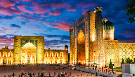 Registan, an old public square in the heart of the ancient city of Samarkand, Uzbekistan.