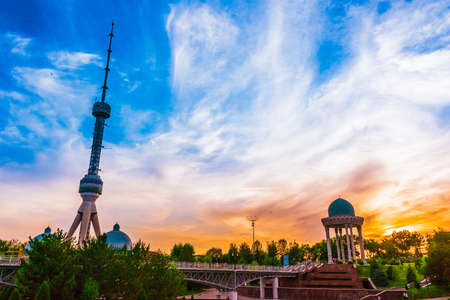 Tashkent Television Tower seen from the park at the Memorial to the Victims of Repression in Tashkent, Uzbekistan 写真素材