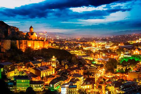 Panoramic view of Tbilisi, Georgia after sunset.