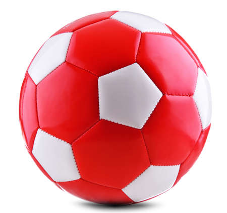 Leather soccer ball isolated on white background. 写真素材