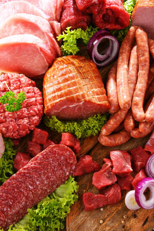 Composition with assorted meat products 版權商用圖片