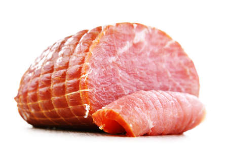 Piece of smoked ham isolated on white background. Meatworks product 写真素材