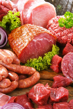 Composition with assorted meat products 写真素材