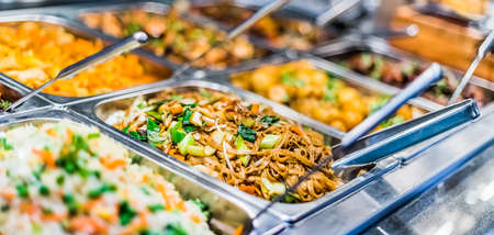 Traditional Asian food sold in an European shopping mall food court