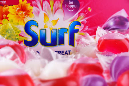 POZNAN, POL - JUN 10, 2021: A box of Surf capsule laundry detergent product, manufactured and marketed by Unilever