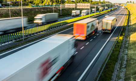 Trucks on six lane controlled-access highway in Poland.