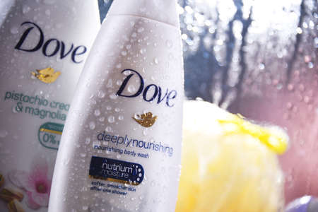 POZNAN, POL - OCT 23, 2020: Containers of Dove product, a personal care brand, owned by Unilever and sold in more than 80 countries