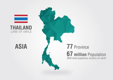 ピクセル パターンを持つ世界地図タイ  イラスト・ベクター素材