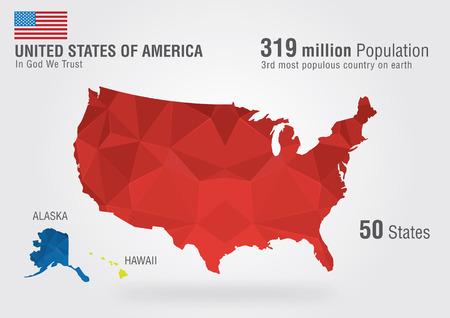 미국 미국 픽셀 다이아몬드 질감으로 지구에지도