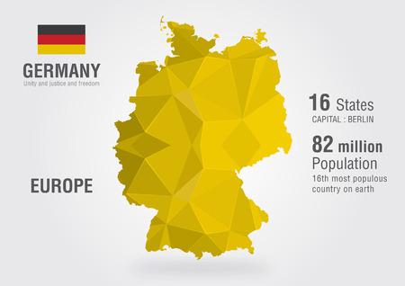 Germany world map with a pixel diamond pattern