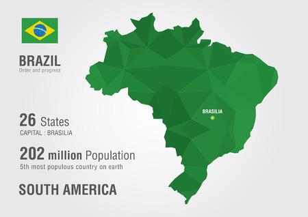 픽셀 다이아몬드 텍스처와 브라질의 세계지도