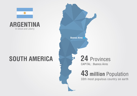 argentina map: Argentina world map with a pattern of pixel diamond  Illustration