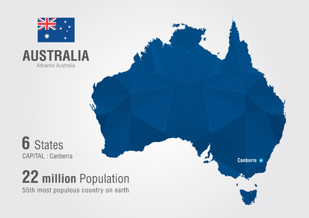 populous: Australia world map with a diamond pixel texture  World map geography  Illustration