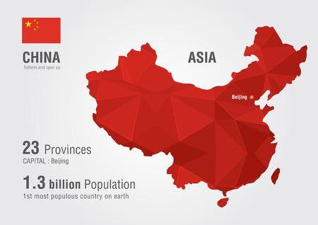 mapa china: China, mapa del mundo con una textura de diamante pixel Mundial geografía mapa