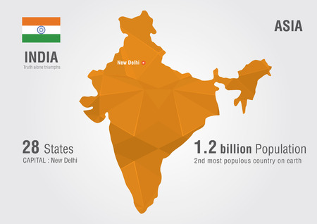 populous: India world map with a pixel diamond texture World Geography