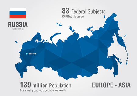 populous: Russia world map with a pixel diamond pattern World Geography